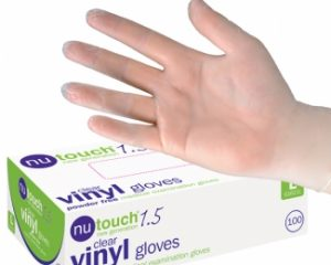 Nutouch 1.5 Clear Vinyl Powder Free Exam Gloves  SKU : 3ZGL04